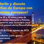 Jornadas sobre futuro de Europa En Berlin! Viaje y alojamiento pagados!