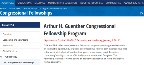 The Optical Society - Congressional Fellowships - The Optical Society - 2013-10-03_13.41.20