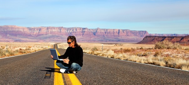 With computer on the road